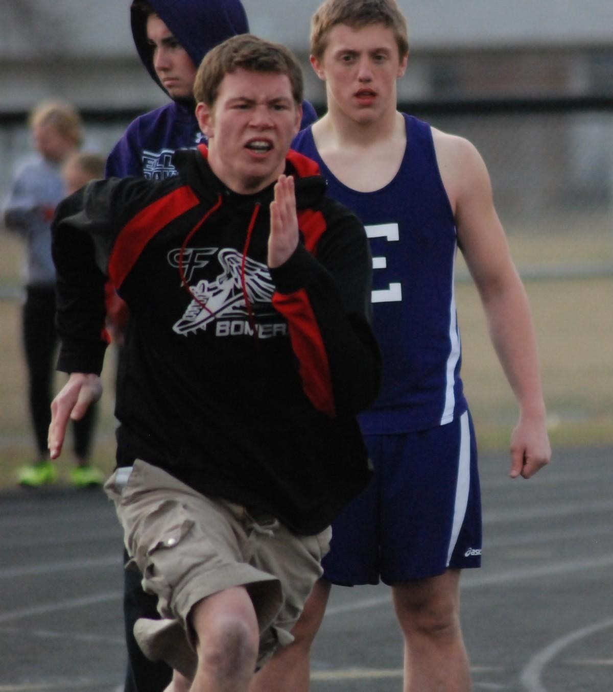 Gus Foss breaks out of the starting blocks in a recent meet