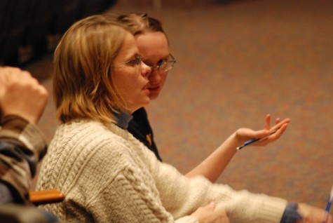 Director Tania Legvold consults with stage manager Becky Yarbrough