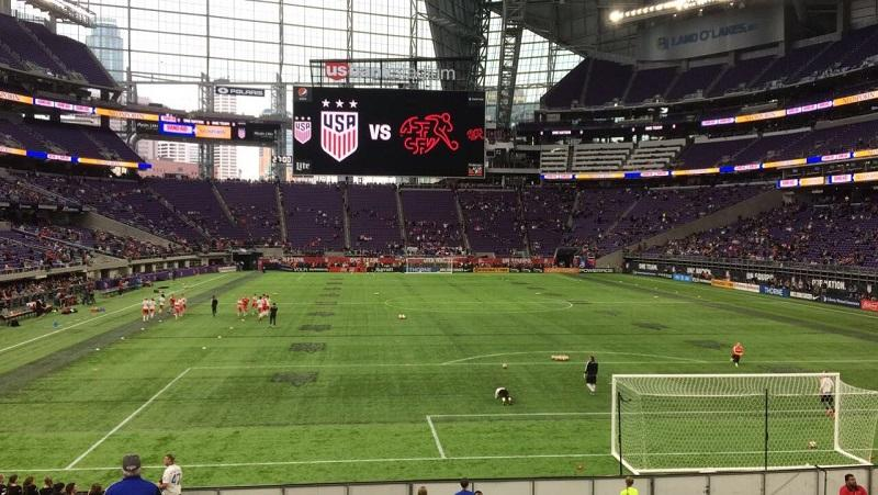 The view of the game in US Bank Stadium