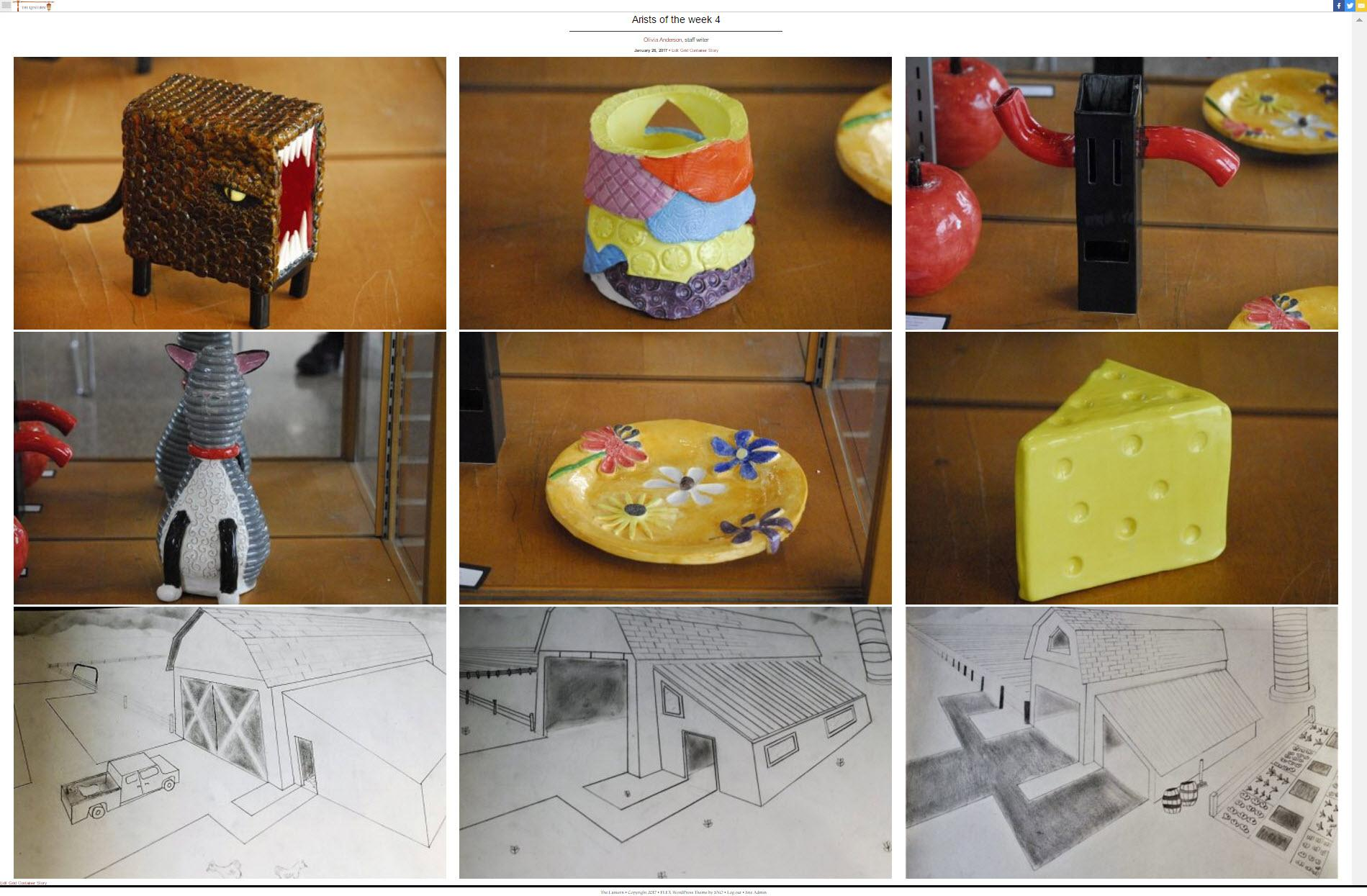 Featuring pottery such as cats and cheese and drawings of barns, students are highlighted weekly for their abilities