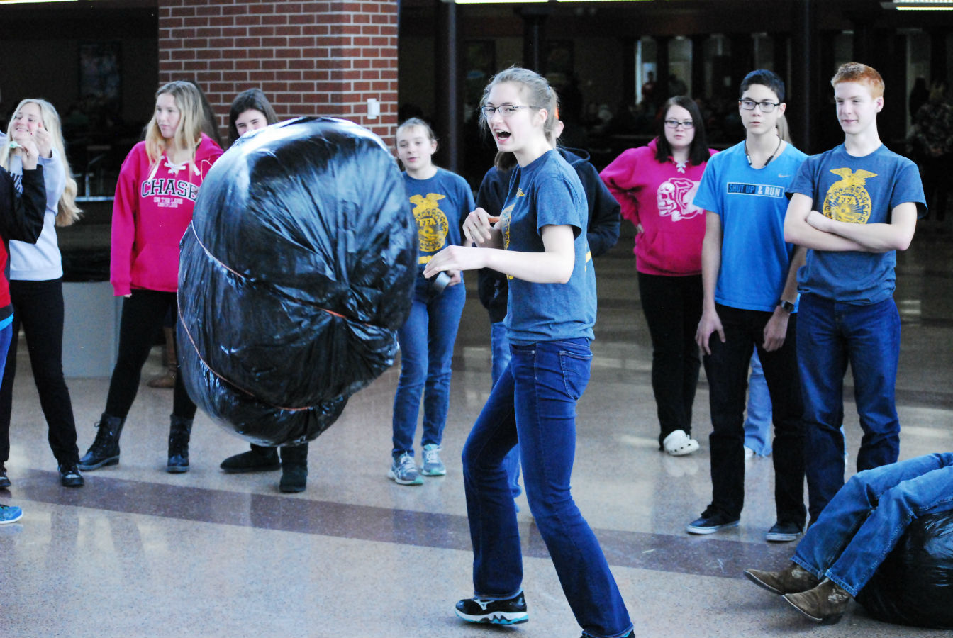 Students participate in lunch games during FFA week.