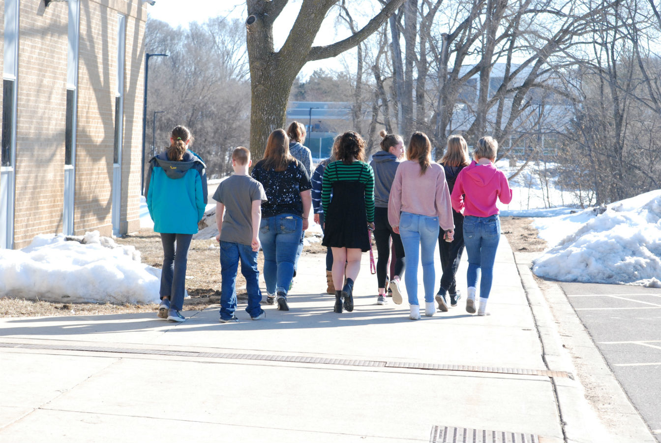 A handful of students participate in the national school walkout.