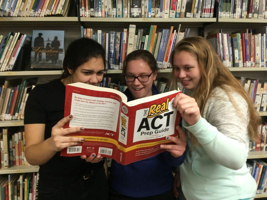 Three+juniors+cram+for+the+ACT