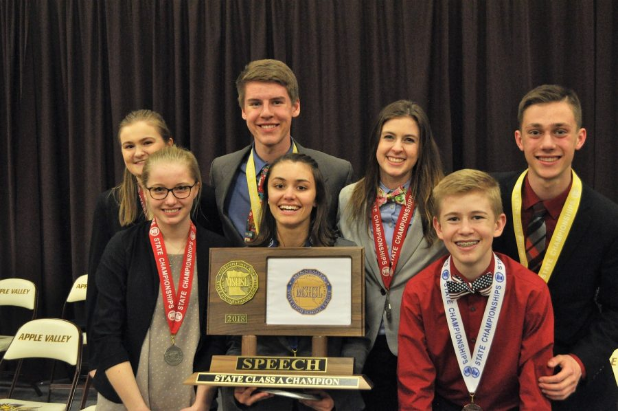 The+Cannon+Falls+HS+state+speech+finalists+pose+with+their+state+tournament+trophy
