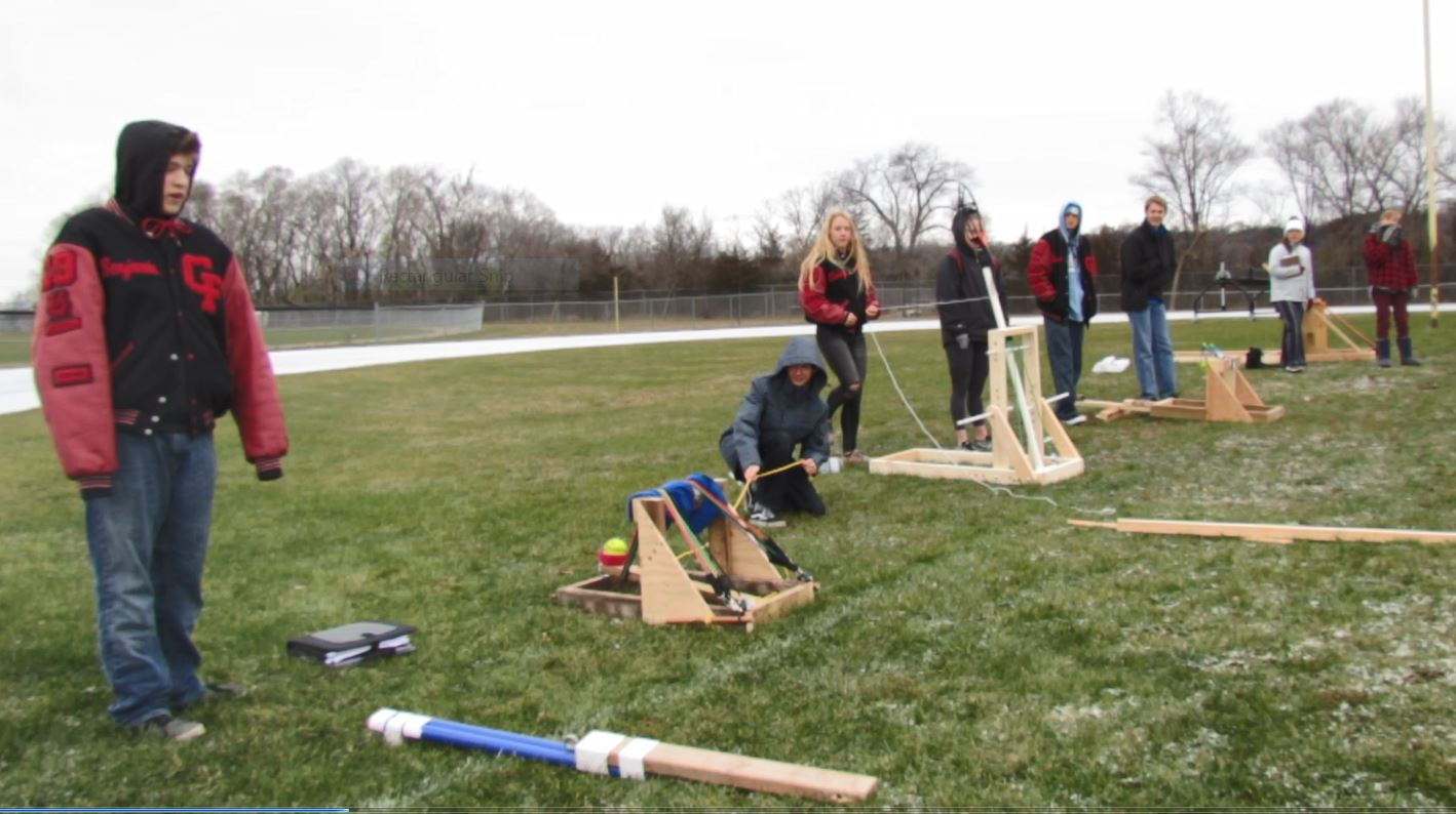 The CFHS Physics class takes aim with their home-made catapults