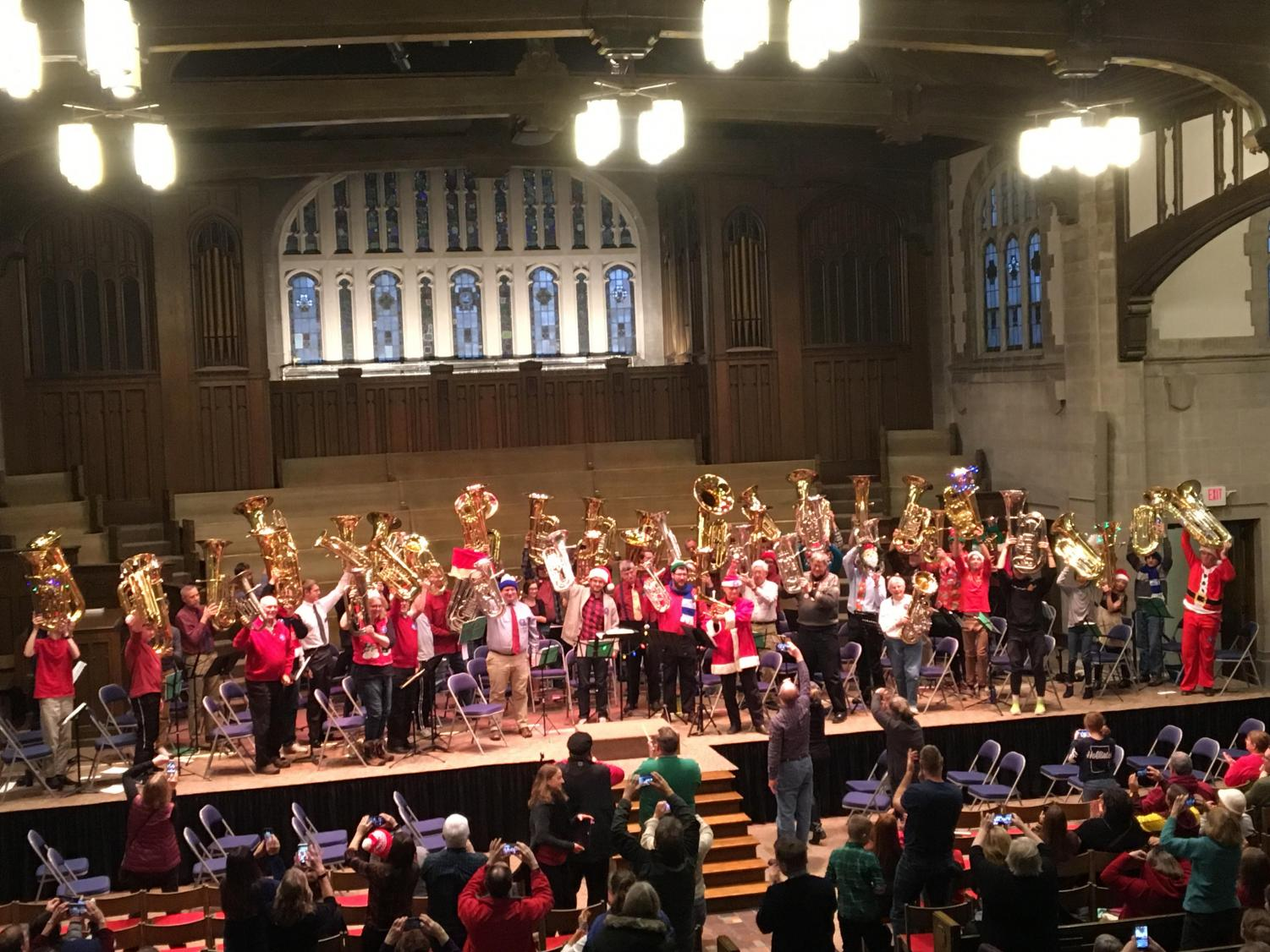Tuba and euphonium players perform at the annual Tubachristmas