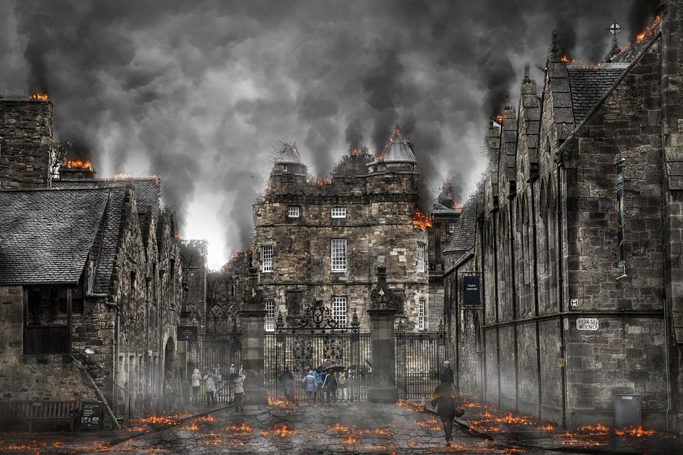 Destruction caused by a zombie apocalypse.