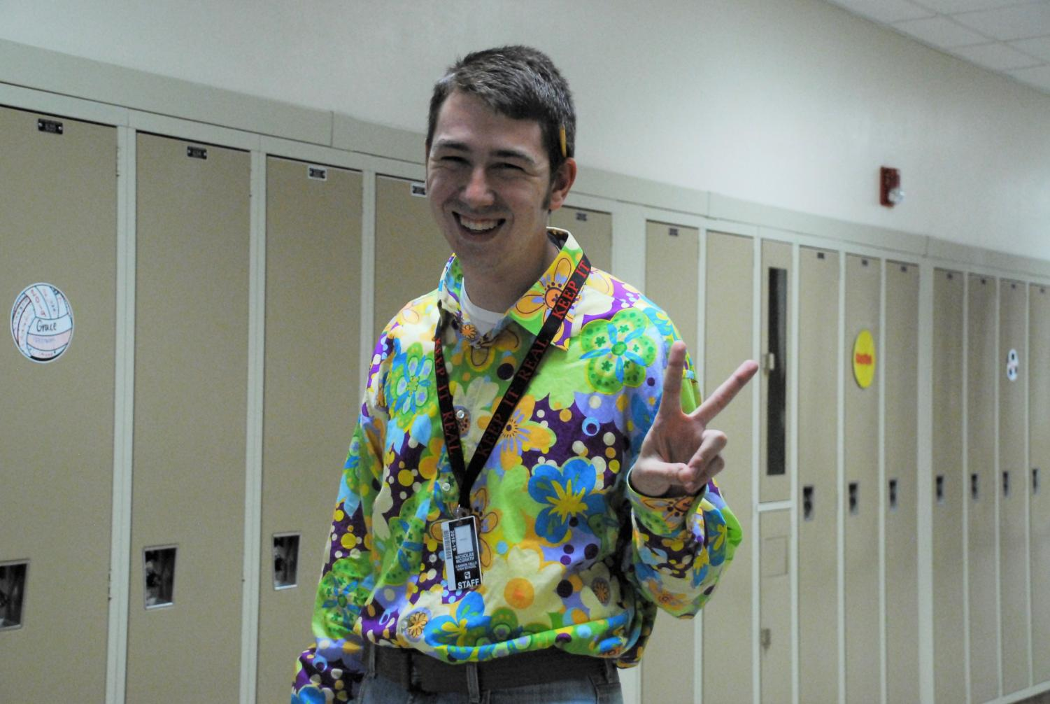 Mr. McGrath was feeling groovy on Throwback Thursday during homecoming week.