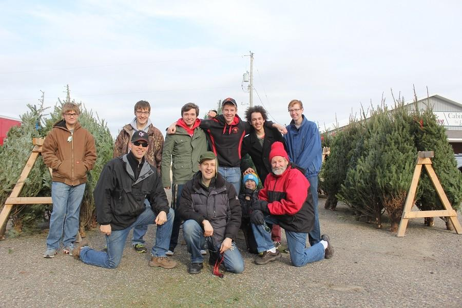 The band booster organization sells Christmas trees as a fundraiser