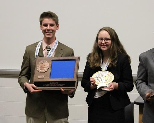 CF debaters receive their state semi-finals awards