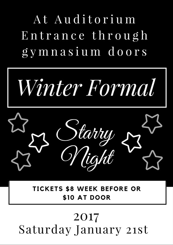 This poster describes the wonder of the upcoming formal.