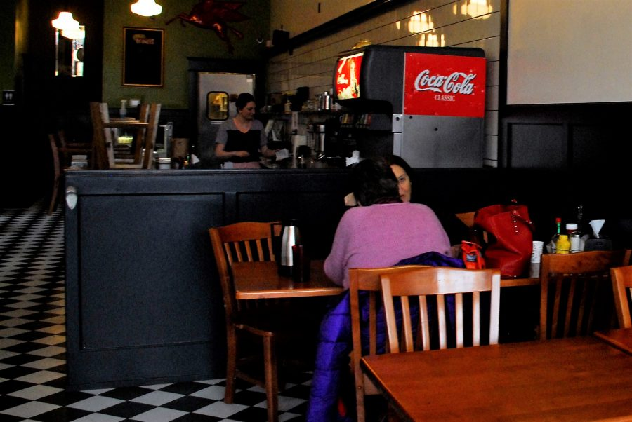 Customers enjoy their lunch at Nicks Diner