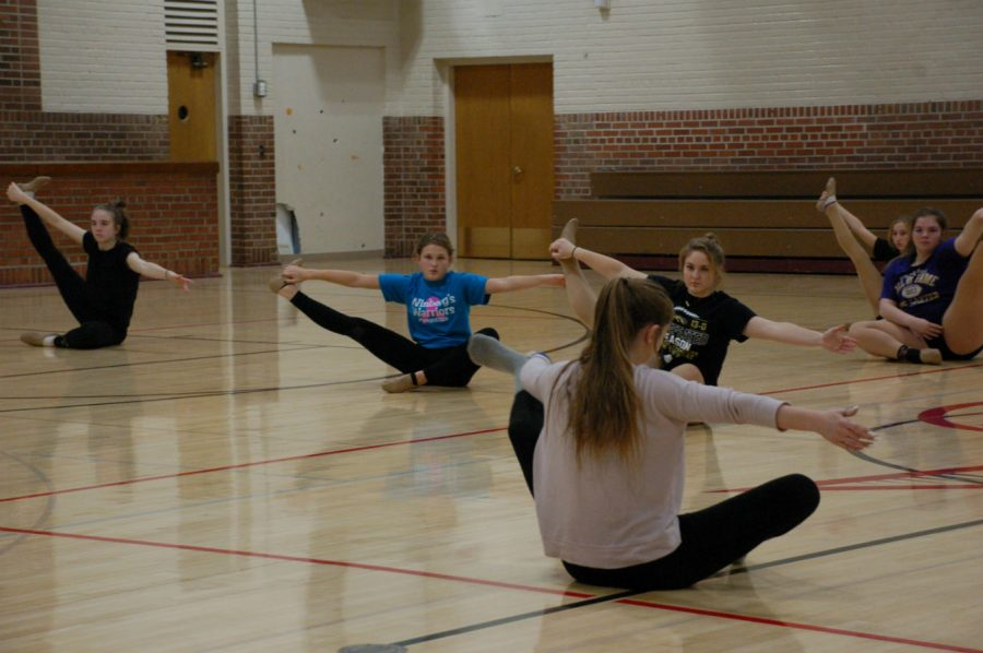 The Bomber Dance Team preparing for the second half of their season.