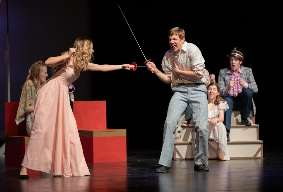 Kressin Hartl and Maciah Harris sword fight during the Hamlette death scene