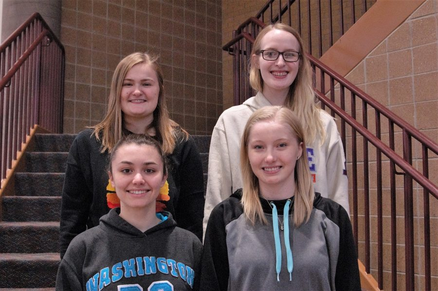 Seniors Hannah Singewald, Olivia Anderson, Laura Johnson, and Josie Ramler were proud to receive the All-State title.