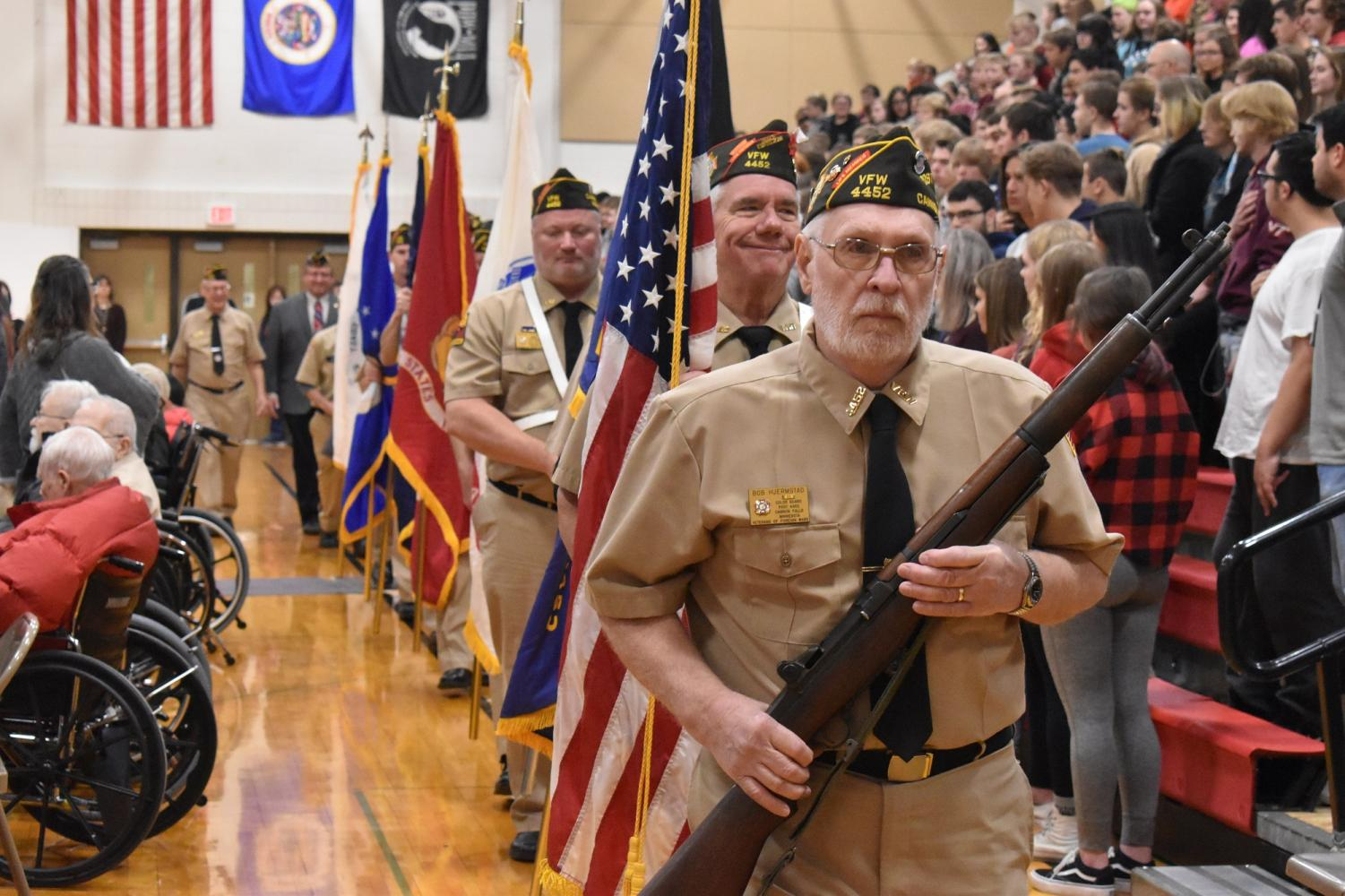 Veterans emerge from a stirring Veterans Day ceremony at Cannon Falls High School