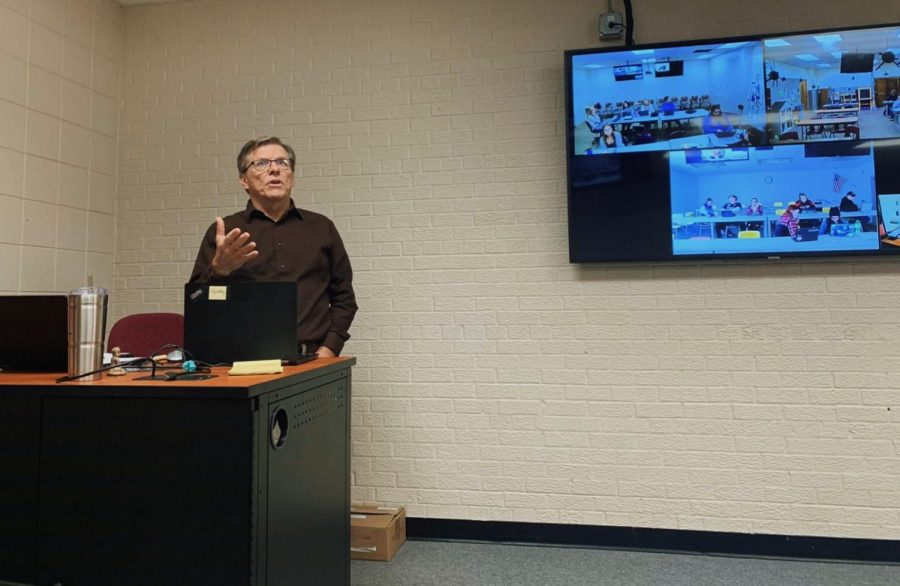 John Fogarty explained the different types of feature stories to his interactive television journalism one class on October 24.