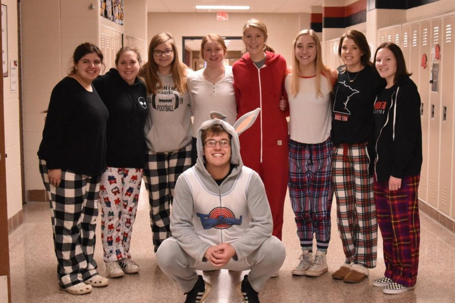 Seniors from Mr. Strauss's class are feeling the Holiday Spirit in their pajamas.