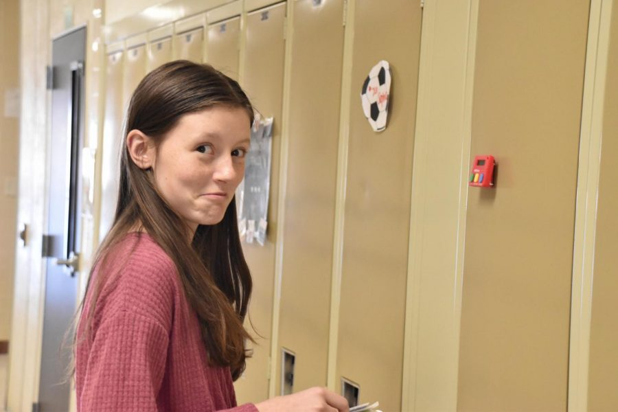 Grace Churchill practiced speaking to the lockers for the first time during speech workshop on January 11.