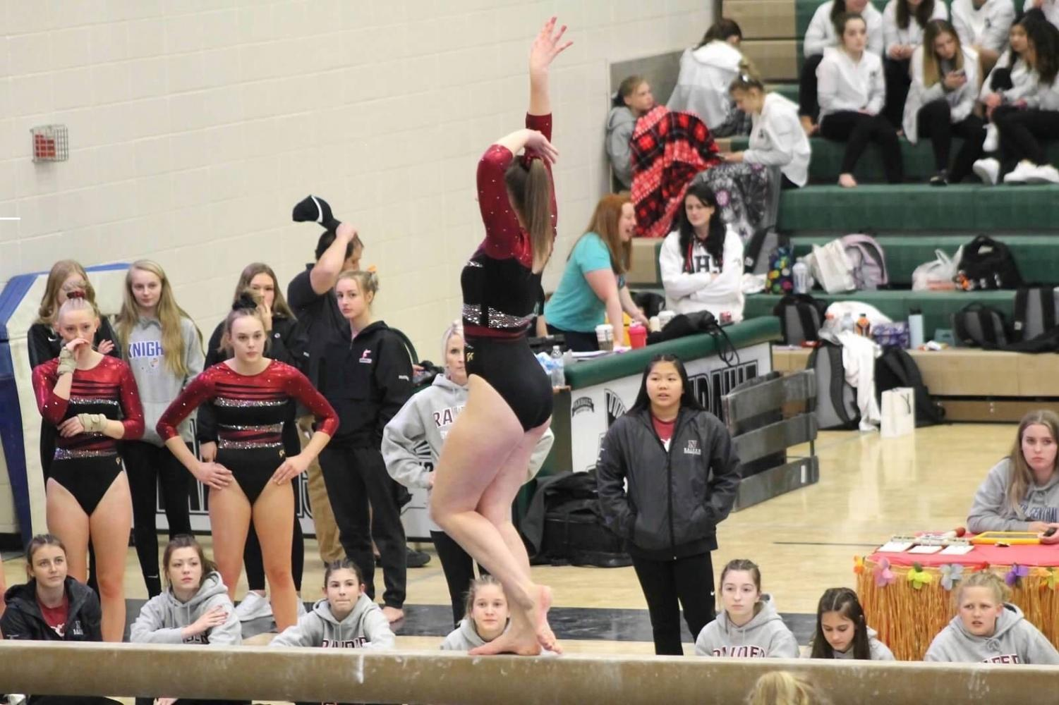 Saundra Stodden performs her beam routine at a recent competition.