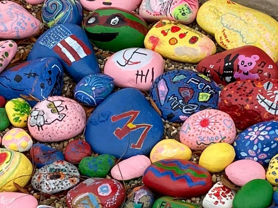All+of+the+small+stones+were+painted+by+a+variety+of+students%2C+adding+color+in+front+of+the+elementary+school.