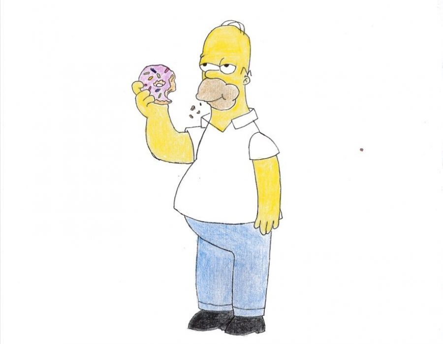 Homer+is+always+seen+with+a+donut+in+hand+no+matter+the+situation.+