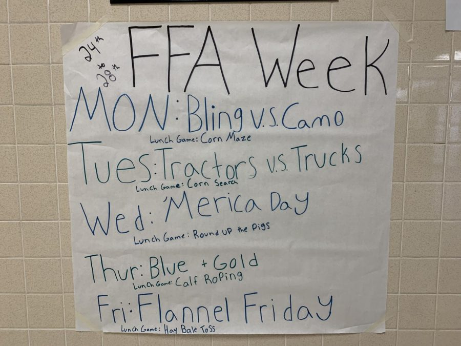 Members of the FFA created a handful of posters that informed classmates of the dress up days.
