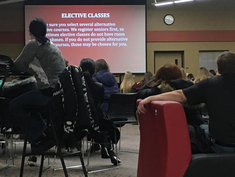 Rising freshman sat through a presentation regarding class registration.