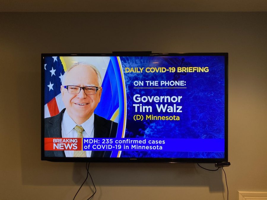 Instead+of+the+usual+press+conference+setting%2C+Governor+Walz+filled+Minnesotans+in+over+the+phone.++