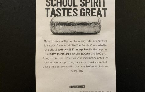 Fliers were passed out to encourage peers to support their classmates by eating out for the night.