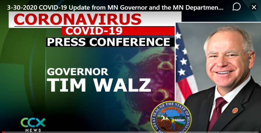 Governor Tim Walz gives one of his daily press conferences to keep Minnesotans updated during Covid-19 chaos.