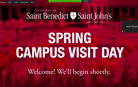 A team from the College of Saint Benedict and Saint John's Univerisity make their Spring Campus Visit Day possible by creating an online opportunity.