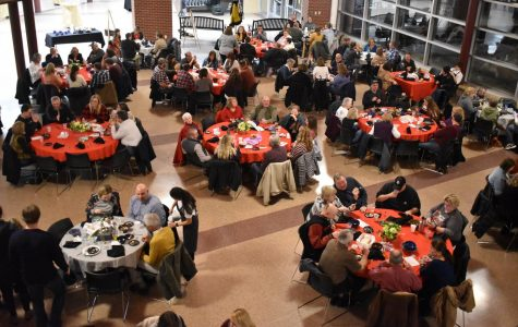 More than 200 people gather in the atrium to celebrate the Humanities program