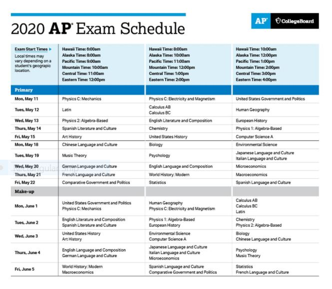 The AP testing schedule has now been released for students.