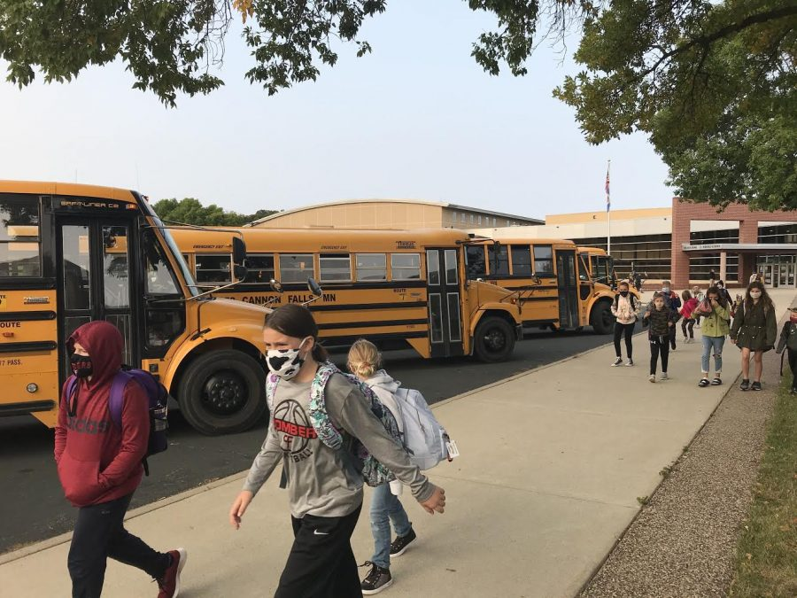 On the first day of school, part 1, masked up students walk into the building ready for the weirdness that is the new normal.