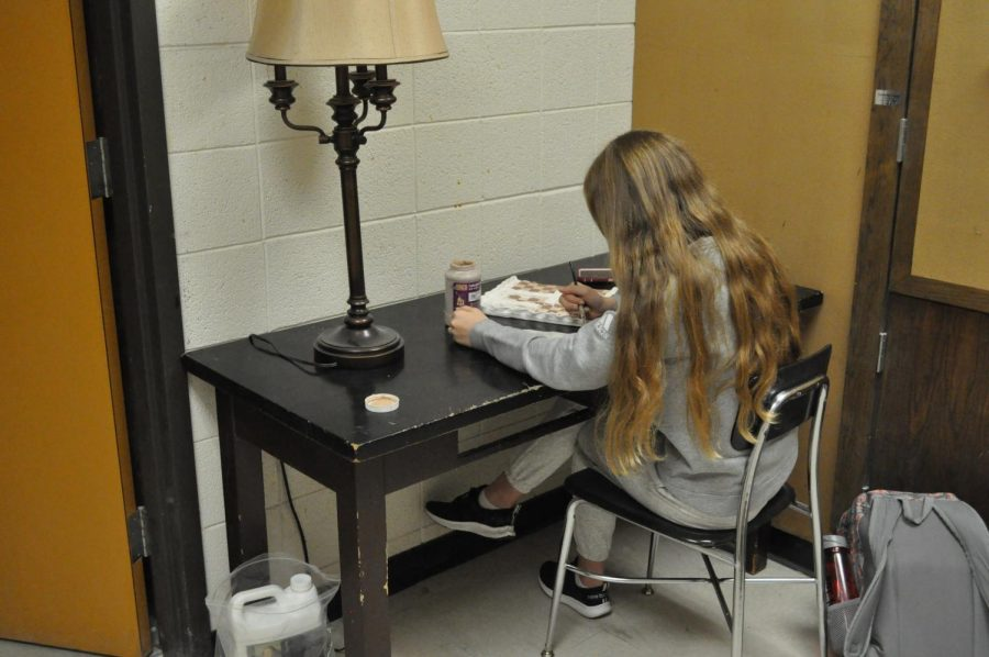 Senior Amelia Qualey takes advantage of independent work time to   develop her own creative projects using her skills from a long history of art classes.