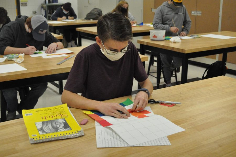 In Art I, students are learning the basics by working with several different colors and materials.