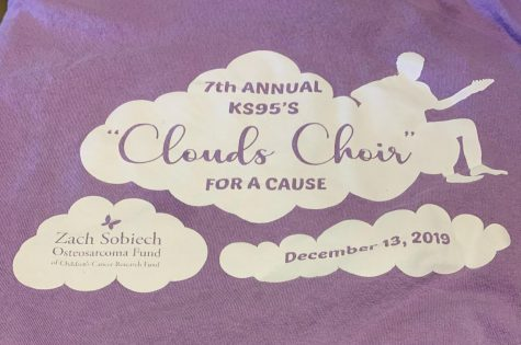 At each Clouds Choir event, participants can buy a t-shirt to wear during the sing-along. This design is from the 2019 t-shirt.