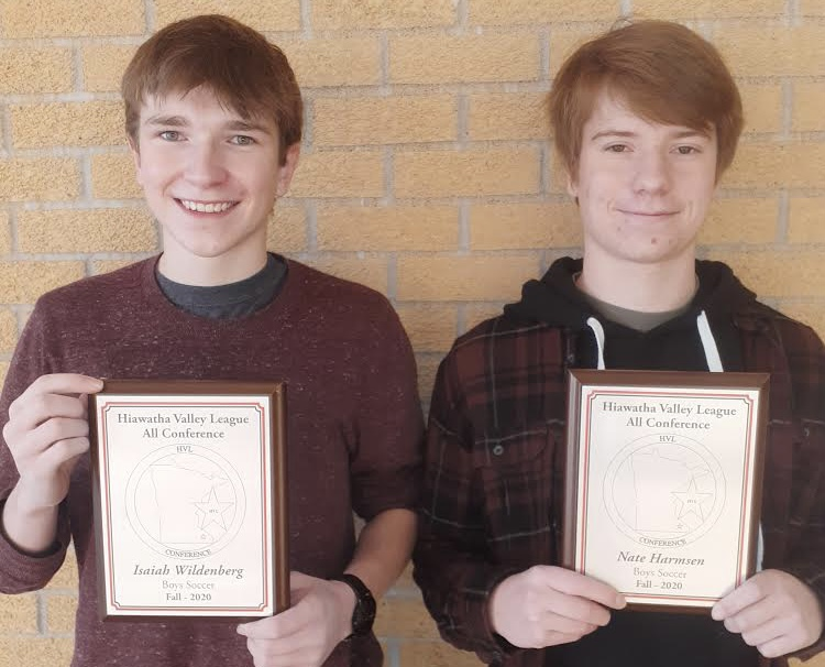 Isaiah Wildenberg (left) and Nate Harmsen (right) have been valued members of the Cannon Falls Soccer program for years, and all their dedication has been recognized.
