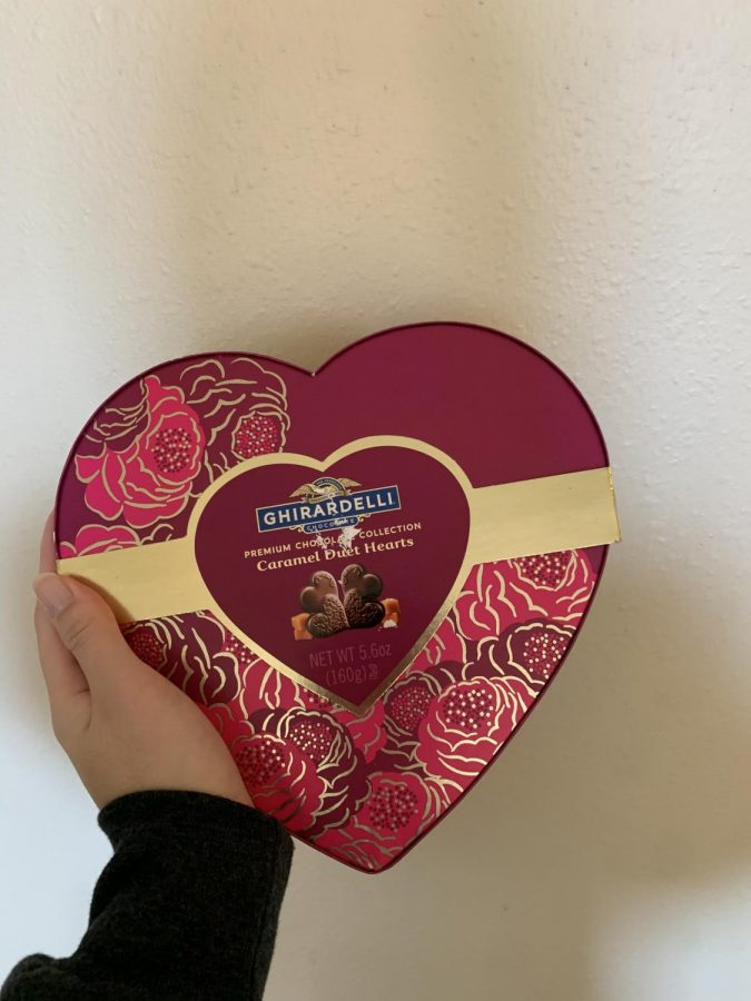 Ghirardelli's Valentine's Day collection includes a heart shaped box full of chocolate and caramel candies.