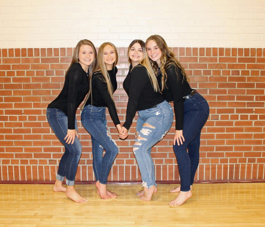 This year, all four of the seniors on the Cannon Falls Bomber Dance Team were selected to be captains.