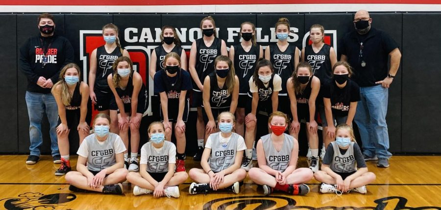 The+7th+and+8th+Grade+Girls+Basketball+Team+adjusted+well+to+wearing+masks.