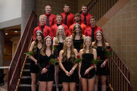 The Homecoming court poses just before the coronation ceremony