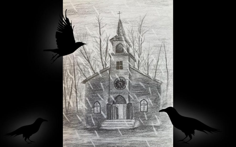 An eerie church, reminiscent of the religious horror series Midnight Mass.