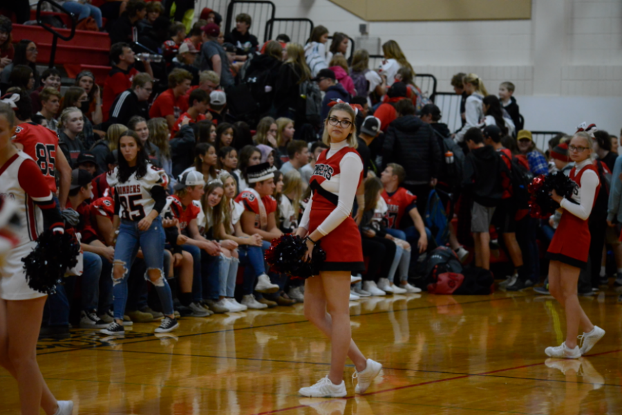 Foreign exchange student Sonya Mikova exercises her cheerleading skills at the 2021 Homecoming Pep Fest.